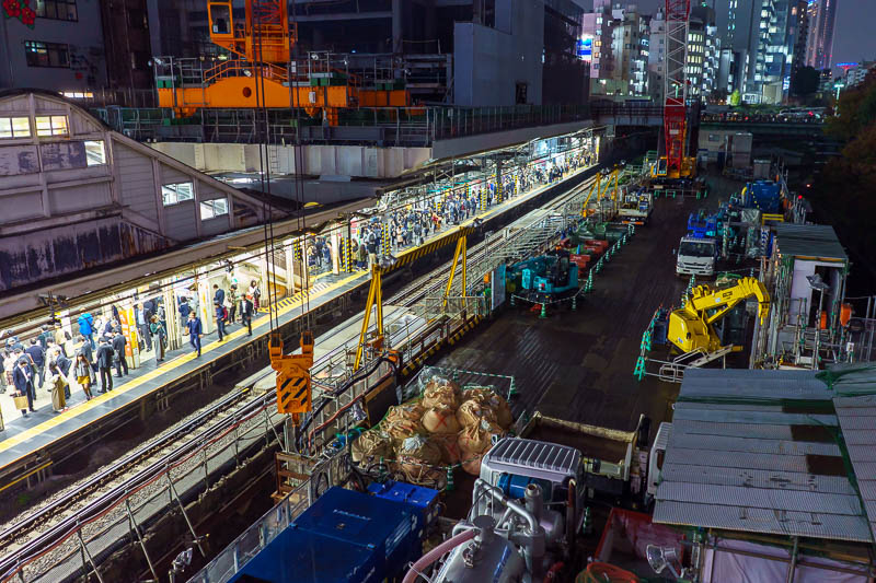 Japan-Tokyo-Suidobashi-Food - Ochanomizu station has been under construction for 10 years now. I am certain the same cranes and equipment were parked in the same spots at this time