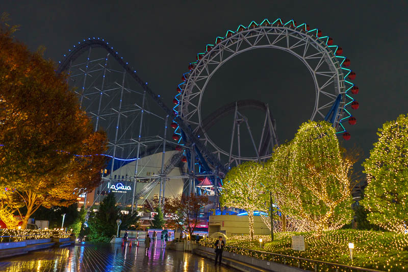 Japan-Tokyo-Suidobashi-Food - The roller coaster is really quite high, and it is running despite the drizzle and the fact its a Monday night.