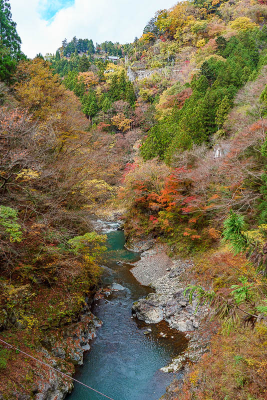 Japan-Okutama-Lake-Hiking - Here is the view from the next scary little bridge made out of wood and wire.