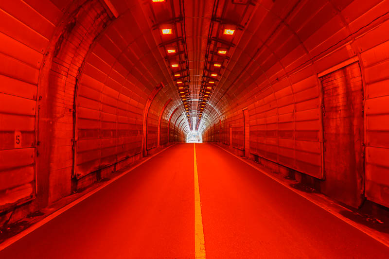 Japan-Okutama-Lake-Hiking - This was the only tunnel with the red lighting. Not sure why. Definitely worth another tunnel photo to celebrate the red lighting.
