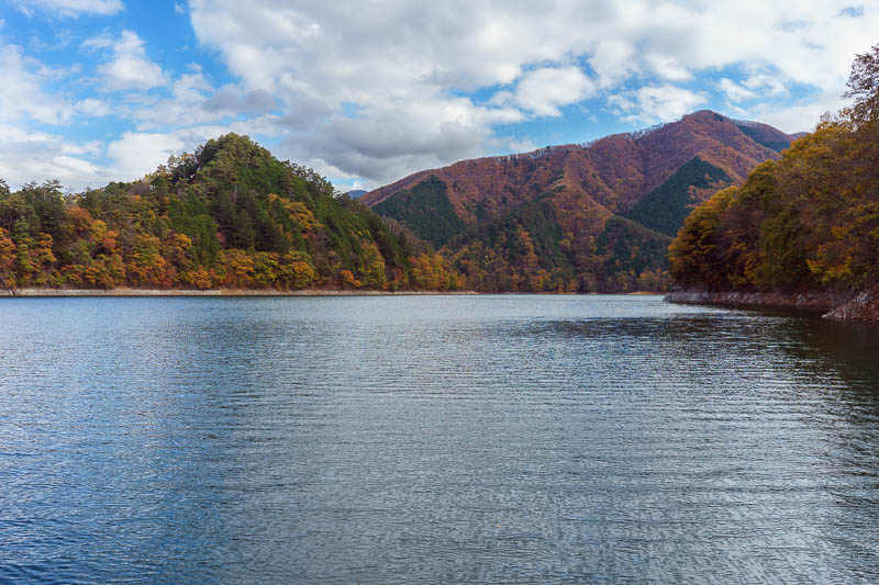 Japan-Okutama-Lake-Hiking - Pontoon view 2 of 2. I would be running the 12km trail around the base of the lake to the right of this picture.