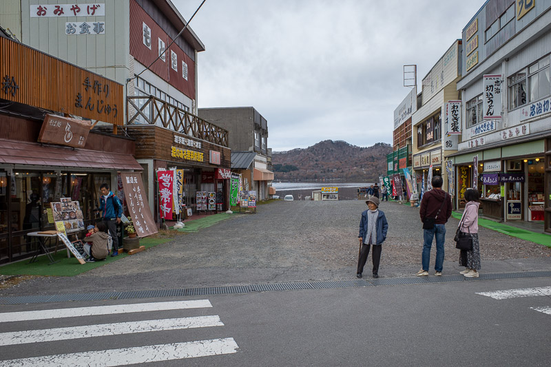 Japan-Hiking-Mount Akagi - Here is the village area by the crater lake. Very gloomy skies.