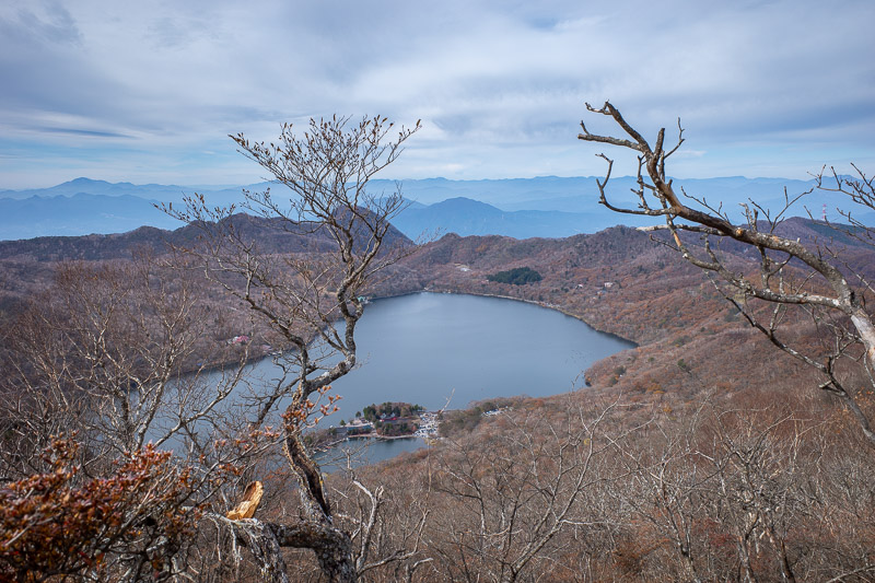 Japan-Hiking-Mount Akagi - The lake as seen from above, and so many mountains, and so much smoke.
