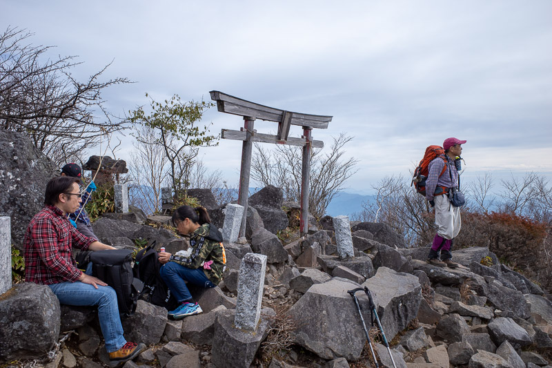 Japan-Hiking-Mount Akagi - Summit #2, Komagatake, with shrine. This is not where you get a good view from though, walk another 100 metres past here to the scenic panorama spot.