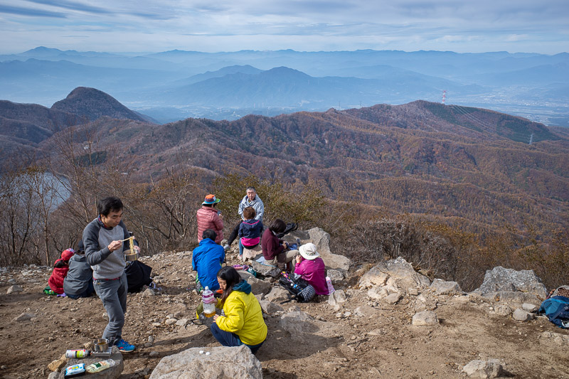 Japan-Hiking-Mount Akagi - Here it is, scenic panorama view spot. The photo does not show it but there were more than 100 people here having lunch. One girl opened a big bag of