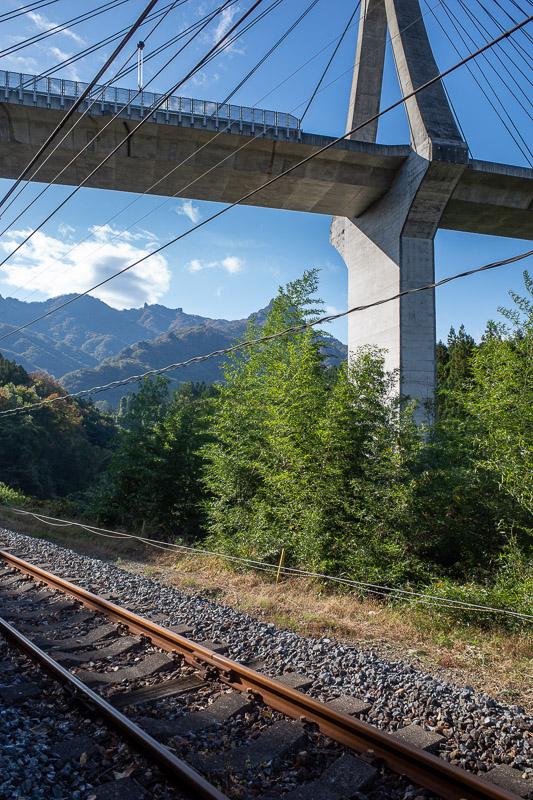 Japan-Takasaki-Hiking-Yokokawa - It is easy to follow the trail, there are maps everywhere, and it is afterall an actual railway line. Here is a bridge and a view.