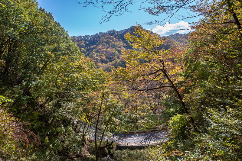 Japan-Takasaki-Hiking-Yokokawa - Here in the valleys, a bit of color has come, but its still not peak color. Last visit I was too late. The color comes late this year. I actually read