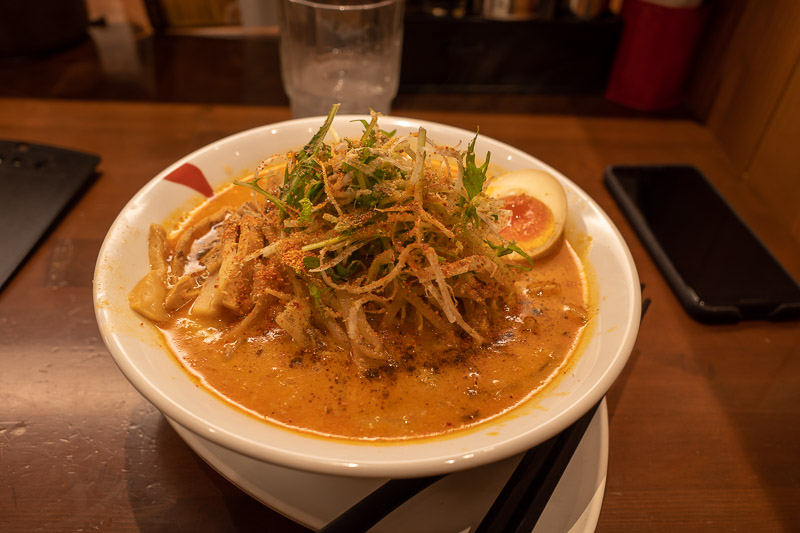 Japan-Niigata-Ramen - My ramen tonight was a bit different. Quite thick noodles. Small chunks of what I assume was pork, but I have no idea. I only eat things floating in r