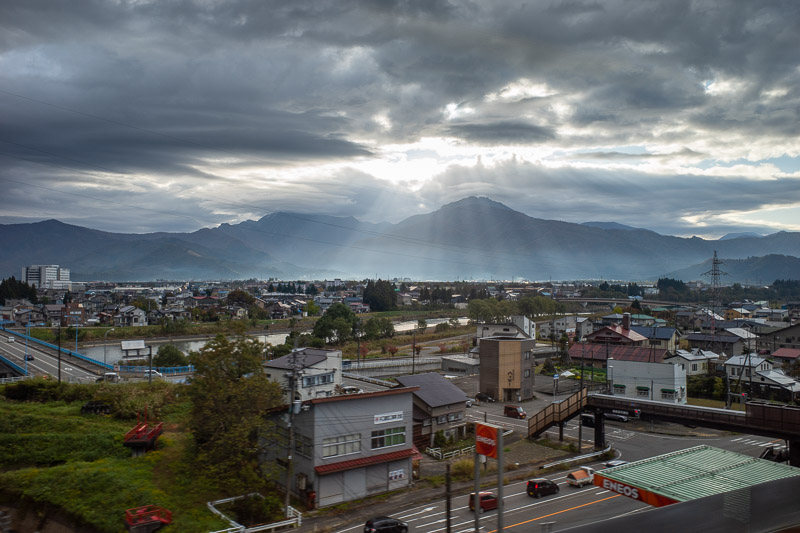 Japan-Hiking-Mount Tanigawa-Doai Station - I think this is Nagaoka, sun starting to break through.