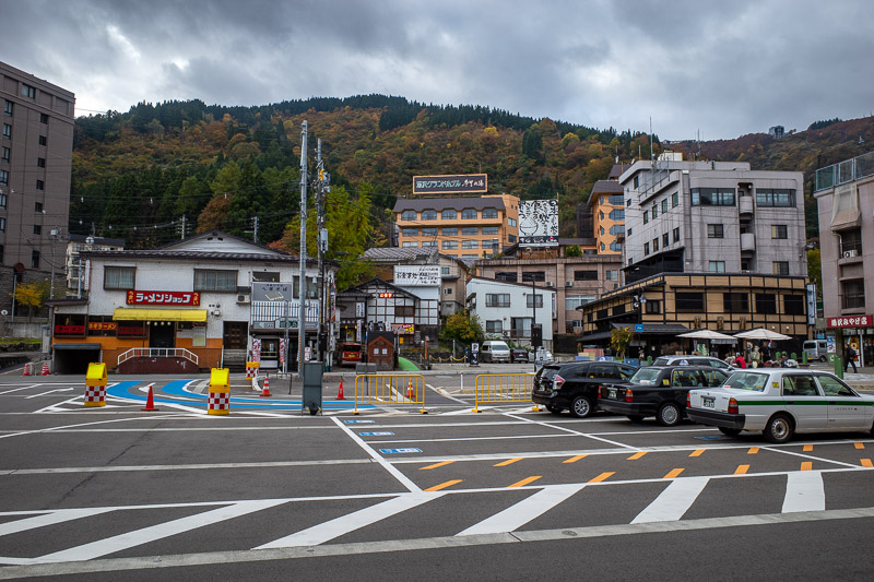 Japan-Hiking-Mount Tanigawa-Doai Station - The station forecourt is not really representative of the Yuzawa area, the much fancier hotels are all on the ski fields. The station is built on the