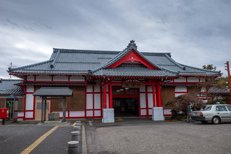 Japan-Niigata-Hiking-Mount Yahiko - You know you are in a tourist area when the station is painted red.