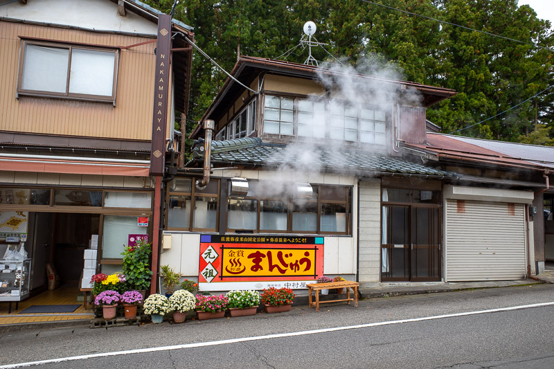 Japan-Niigata-Hiking-Mount Yahiko - Steam was coming out of various little shops to herald my arrival.