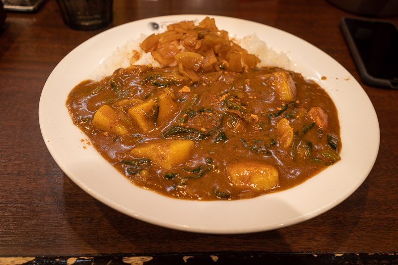 Japan-Niigata-Food-Curry - I have forgone the liver, and gone with vegetables, 10/10 spiciness. They always ask you, I always say 10 and point at the 10 chillis on the Japanese