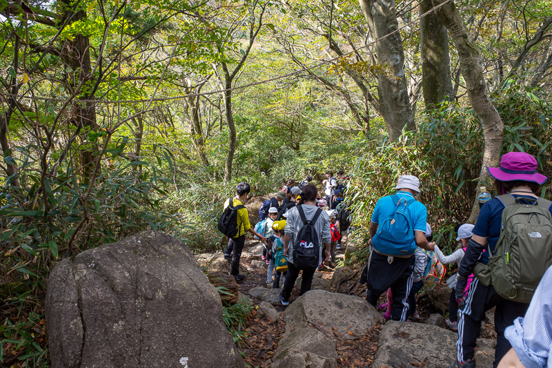 Japan-Tokyo-Hiking-Mount Tsukuba - The horror, the horror! Despite quite a lot of kind of dangerous scrambling over rocks, a lot of school groups featuring children no older than 10 are