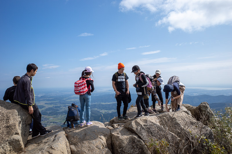 Japan-Tokyo-Hiking-Mount Tsukuba - Summit time. This is the female summit. Fun fact, male and female are the same sounding words in Chinese and Japanese, nan for men, nu for women.