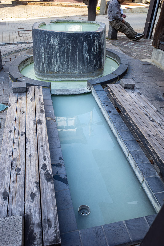 Japan-Yamagata-Hiking-Mount Zao - There are lots of public spots to soak your feet. There is also apparently, A MIXED BATH!!!! Hidden in the mountains! Perverts from around the world t