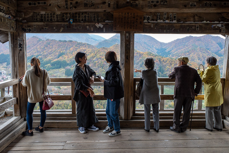 Japan-Hiking-Omoshiroyama-Yamadera - Here is the view we all came for. Note that old people with walking sticks can make it up the steps.
