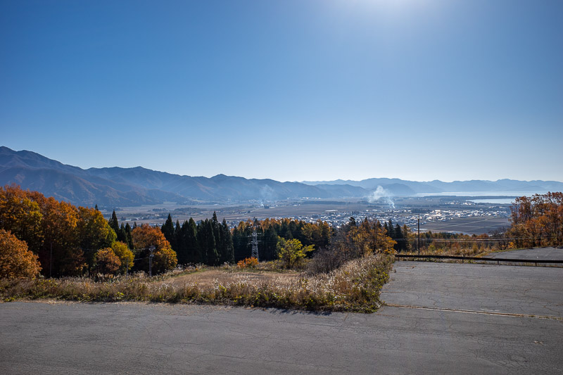 Japan-Hiking-Mount Bandai - The view from the ski field car park is pretty good, apart from that damn smoke rising into the sky everywhere.