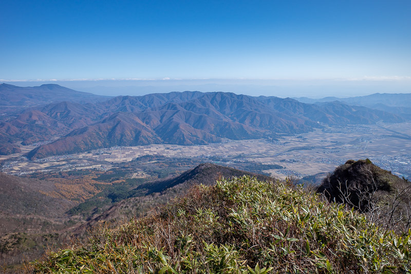 Japan-Hiking-Mount Bandai - I think this is looking back towards Koriyama over smaller mountains.