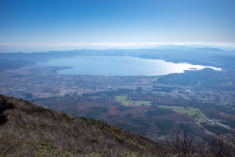 Japan-Hiking-Mount Bandai - And there is all of Lake Inawashiro. It fits in one shot! It looks a long way down! I started from very close to the lake where the station is.