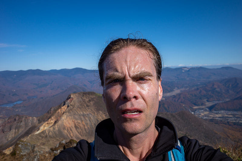 Japan-Hiking-Mount Bandai - Time for another shot of my big old head.