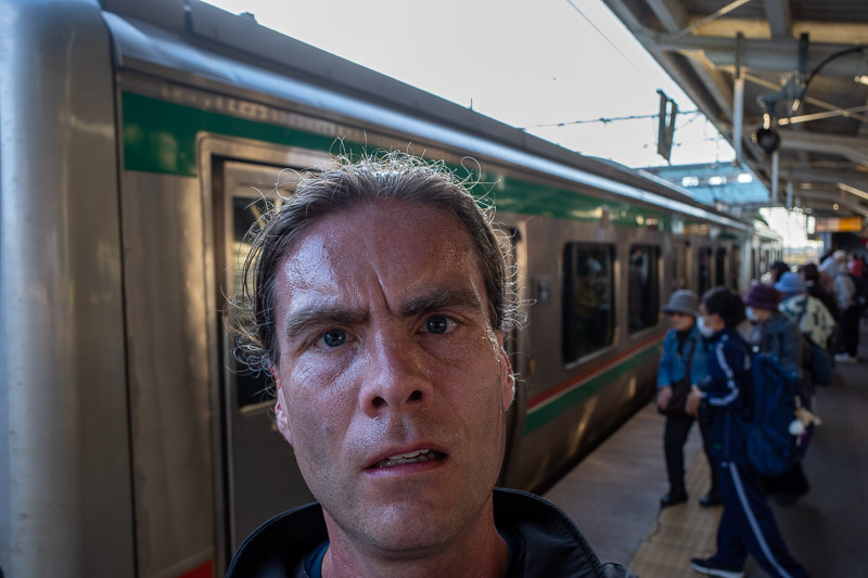 Japan-Hiking-Mount Bandai - Here I am, sweating profusely as I board the train. Another great day in the mountains today, the weather really helped make it excellent!