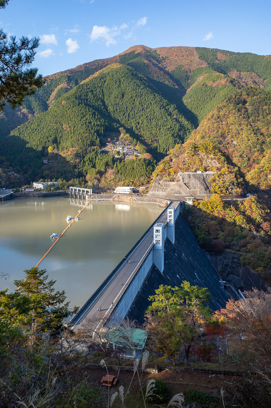 Japan-Hiking-Okutama-Mount Gozenyama - There is the dam. There were people up here at this little lookout.