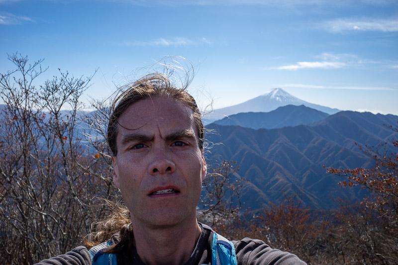Japan-Tokyo-Hiking-Sasago-Mount Takigoyama - HEADSHOT. It was very windy. Why does my face look so fat today? Concerning.