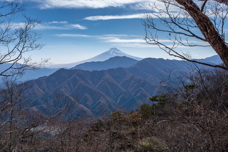 Japan-Tokyo-Hiking-Sasago-Mount Takigoyama - Along the mystery trail, there was another Fuji view. I would have liked one later in the day as the snow was blowing off the summit, but I could not