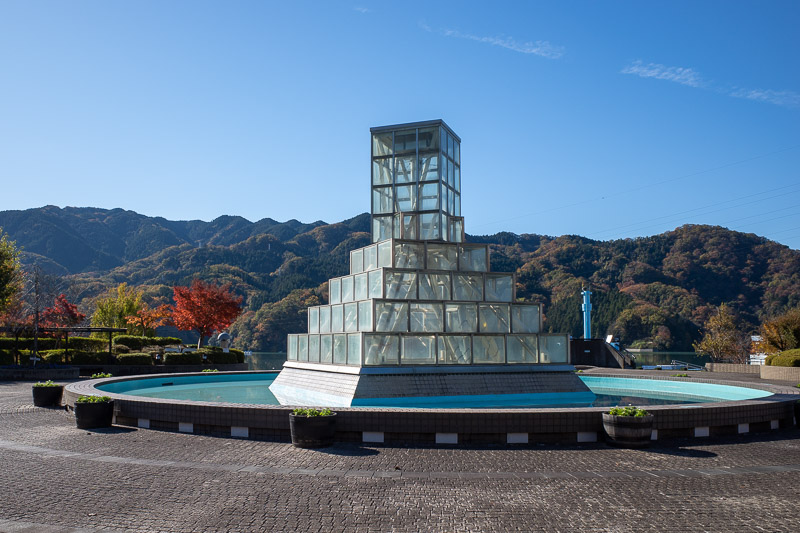 Japan-Hiking-Mount Sekirozan-Lake Sagami - A glass cube pyramid welcomes me to the vicinity of the lake.