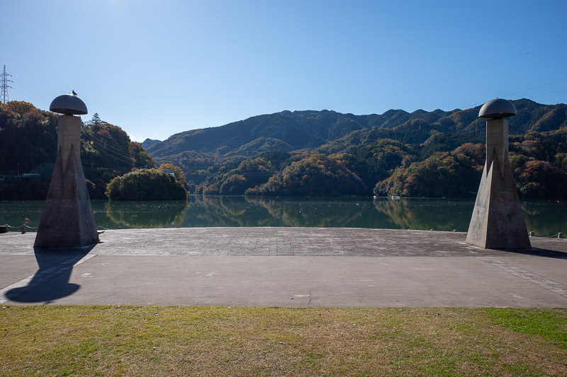 Japan-Hiking-Mount Sekirozan-Lake Sagami - The lake had lots of debris floating in it, but it was a nice blue color.