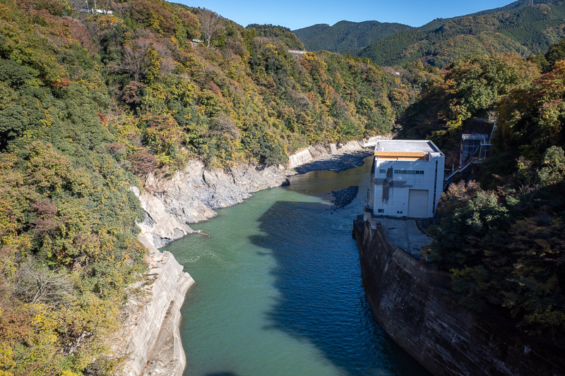 Japan-Hiking-Mount Sekirozan-Lake Sagami - The lake is created by a dam, which looks like it might be a small hydroelectric powerplant.