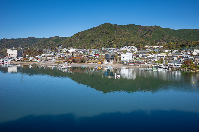 Japan-Hiking-Mount Sekirozan-Lake Sagami - The lakeside town of Sagamiko.