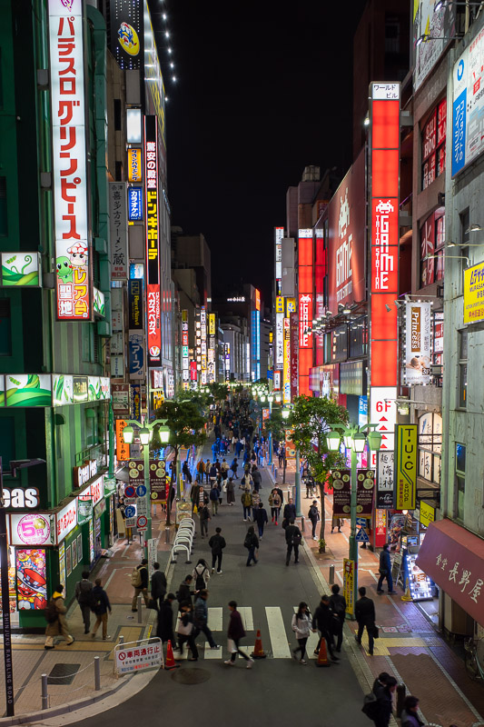 Japan-Tokyo-Shinjuku-Okonomiyaki - I took a shot of this street from street level, now here it is from above.