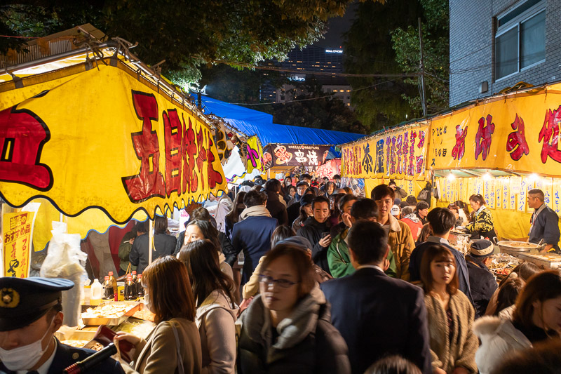 Japan-Tokyo-Shinjuku-Okonomiyaki - The food stalls I posted last night are for the local shrine festival, there are a lot more tonight. I was trapped in a wave of people, getting in the