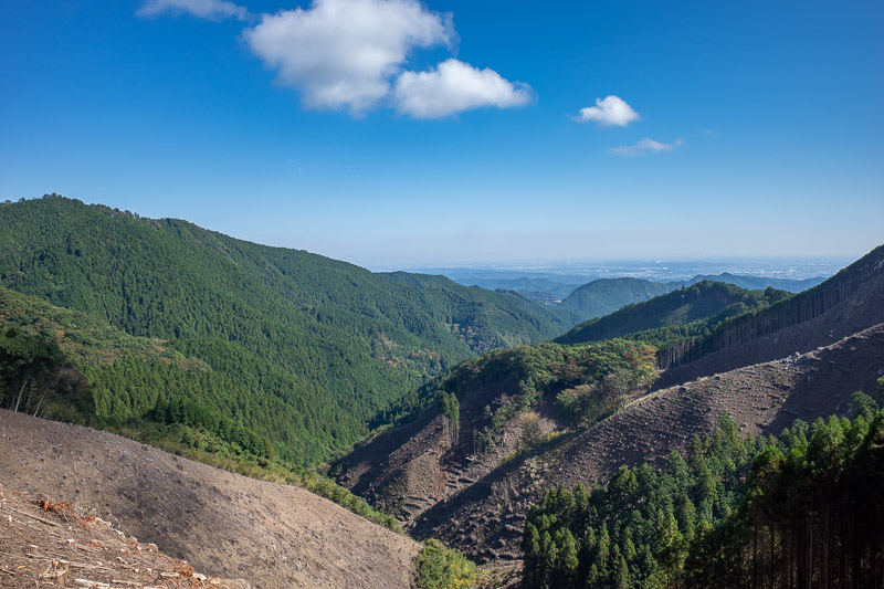 Japan-Tokyo-Hiking-Iwatakeishiyama - Some areas had active logging operations, creating a view! Without the logging there would have been a lot less views to appreciate. Japan logs for my