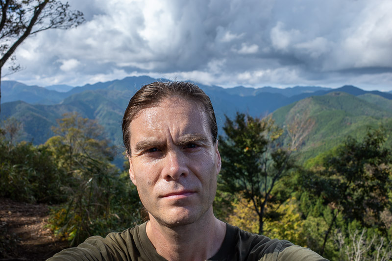 Japan-Tokyo-Hiking-Iwatakeishiyama - Here is my big sweaty head blocking the view. Remember last year when the big vein in my head was concerning me? It appears to be gone. Weird.