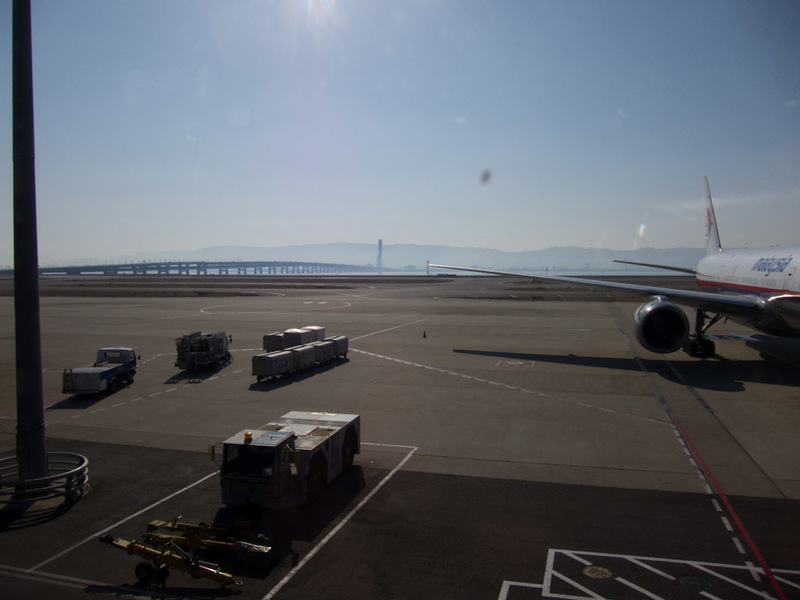 Japan-Taiwan-Osaka-Taoyuan-Airport - The view back to natural land with the bridge to fake land on the left.