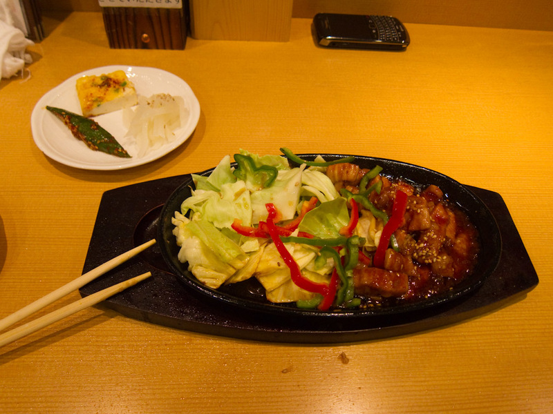 Japan-Tokyo-Shinjuku-Neon - My dinner, is Korean food. It was pretty small, but thats ok, I intend to eat a lot of junk food.