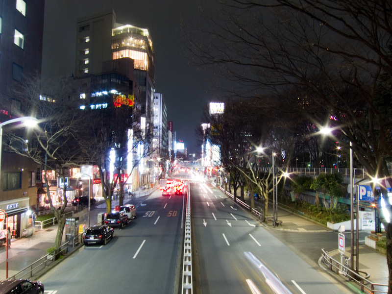 Japan-Tokyo-Shibuya-Harajuku - A random overpass means I can rest my camera and get some blurred headlights.