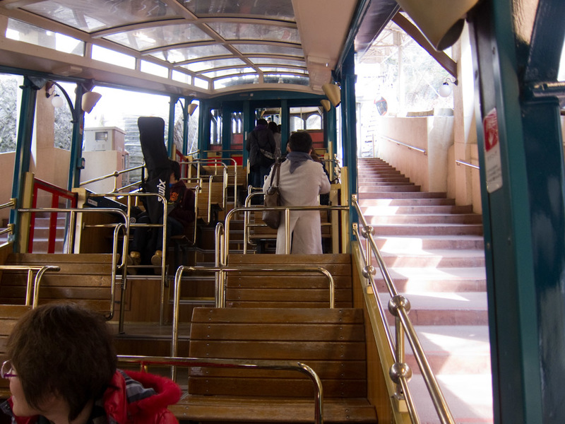 Japan-Hiking-Kobe-Curry-Mount Rokko - The cable car itself is a staircase. Its also very old. Much like the trams that go to the peak in Hong Kong. At the top of this mountain is the oldes
