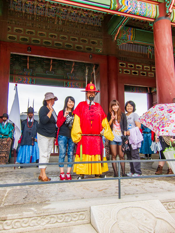 Korea-Seoul-Gyeonbok-Palace-Pho - The gate is guarded by the guy out of Big Trouble in Little China, I really like the hats.