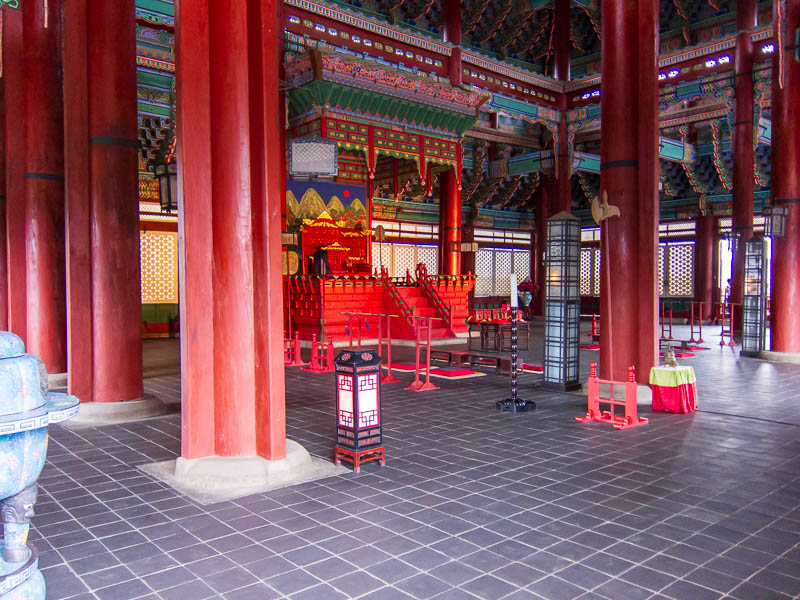 Korea-Seoul-Gyeonbok-Palace-Pho - Inside one of the buildings, seems pretty drafty.