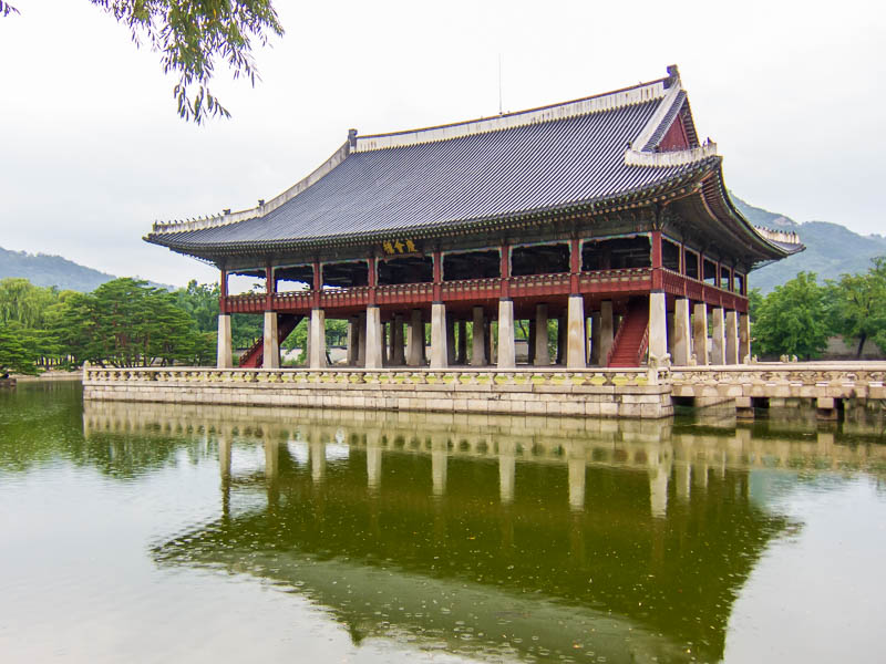 Korea-Seoul-Gyeonbok-Palace-Pho - Building built in a lake.