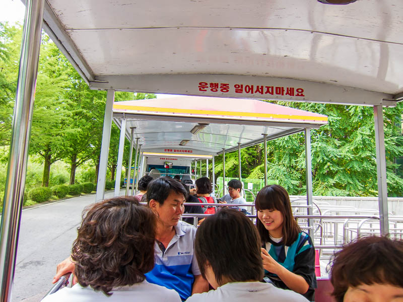 Korea-Seoul-Zoo - You have to ride on many themed things in the zoo, here I am on the electric elephant train.