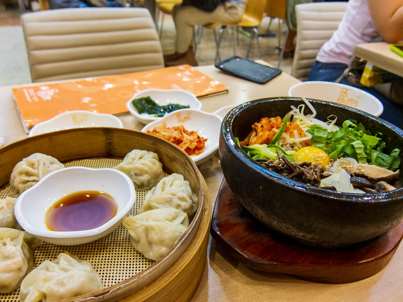 Korea-Seoul-Dongdaemun-Bibimbap - My dinner, a differnt kind of Mandoo dumpling (pretty average, they should stop in at a shanghai or taiwanese dumpling place!), and vegetaria bibimbap