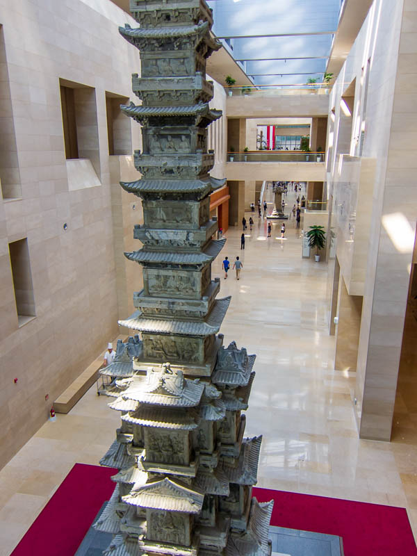 Korea-Seoul-National-Museum - The lobby area with a giant totem pole thing.