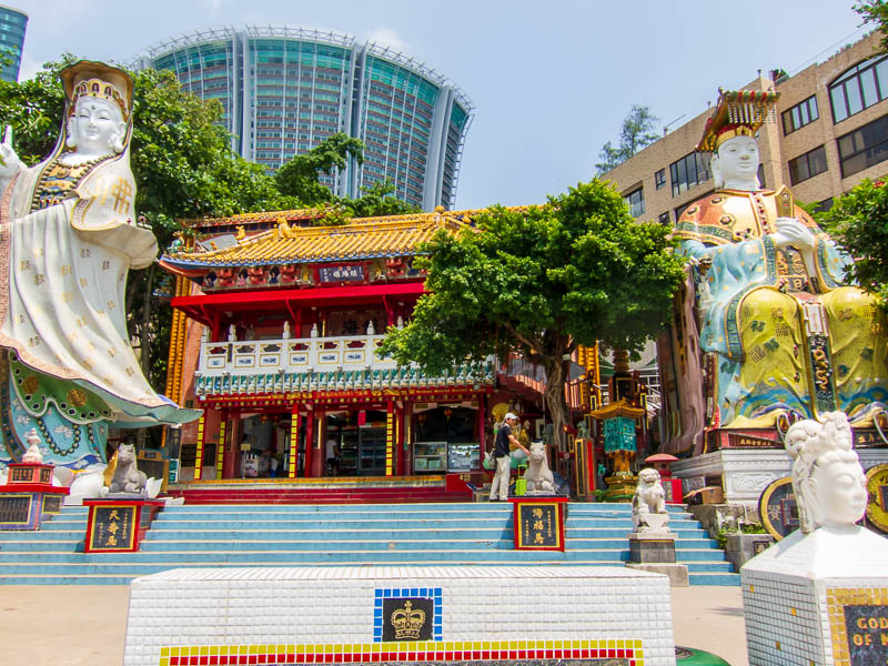 Hong Kong-Repulse Bay-Beach - At the end of the beach is a buddhist temple / ice cream shop. You cant really see from the photos but all thats inside the building is an ice cream s