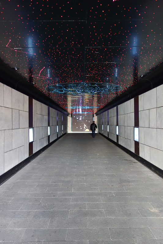 Korea-Daegu-Hiking-Apsan - The tunnel under the highway to the start of the trail has decided to go with the ever popular star walk theme. As seen in Shanghai, Beijing, Nanjing,