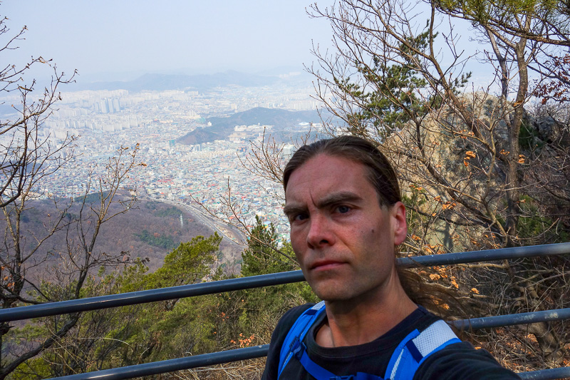 Korea-Daegu-Hiking-Apsan - I couldnt find anywhere to set my camera down for the regular pose, so an arm length selfie is the best I could do. Thats enough mountain photos for t
